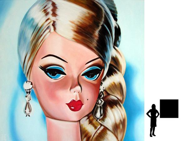 Barbie 2, olieverf op linnen, 100 x 100 cm.