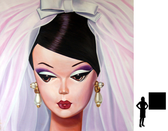 Barbie 3, olieverf op linnen, 100 x 100 cm.
