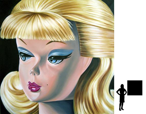 Barbie 5, olieverf op linnen, 100 x 100 cm.