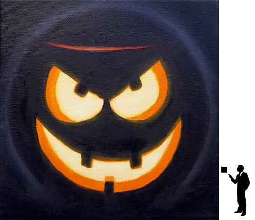 Halloween 1, olieverf op katoen, 20 x 20 cm., 50,-