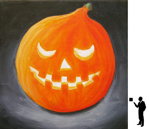 Halloween 2, olieverf op katoen, 20 x 20 cm., 50,-