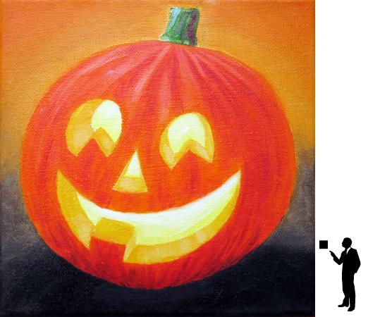 Halloween 3, olieverf op katoen, 20 x 20 cm., 50,-
