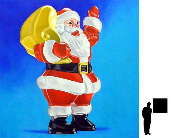 Kerstmannetje, olieverf op linnen, 80 x 80 cm., 300,-