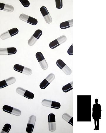 Pillen 1, olieverf-acryl op linnen, 80 x 150 cm, 800,-