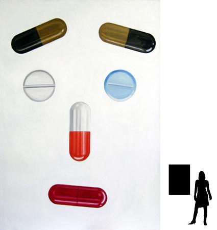 Pillen 2, olieverf op linnen, 70 x 100 cm., 200,-