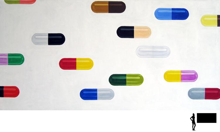 Pillen 3, olieverf/acryl op linnen, 200 x 100 cm., 1000,-