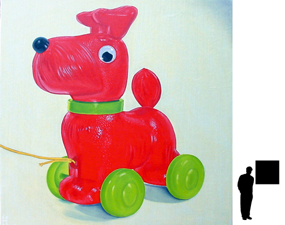 Speelgoed hondje, olieverf op linnen, 80 x 80 cm.
